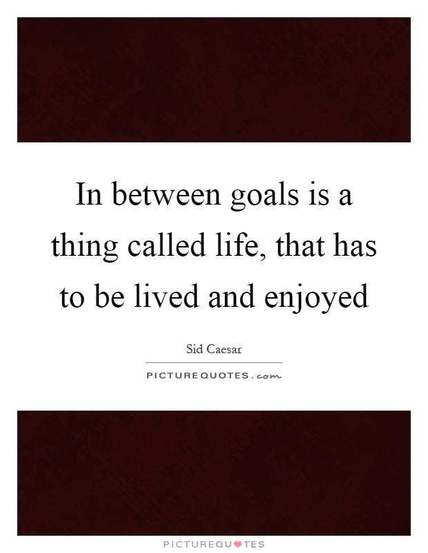 In between goals is a thing called life, that has to be lived and enjoyed Picture Quote #1