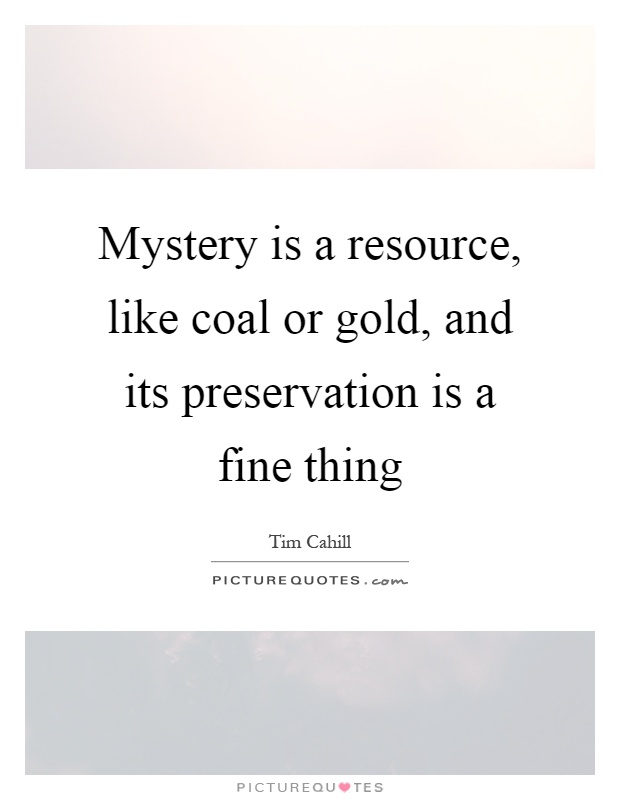 Mystery is a resource, like coal or gold, and its preservation is a fine thing Picture Quote #1