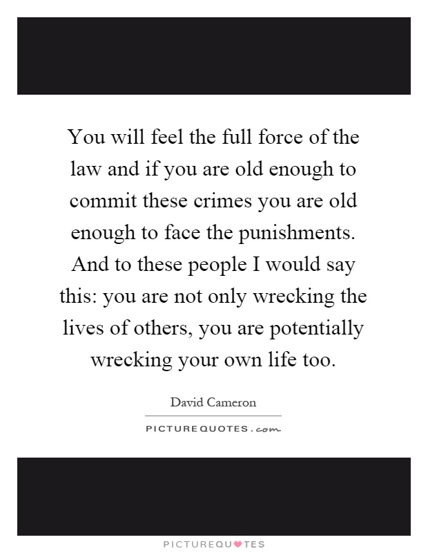 You will feel the full force of the law and if you are old enough to commit these crimes you are old enough to face the punishments. And to these people I would say this: you are not only wrecking the lives of others, you are potentially wrecking your own life too Picture Quote #1