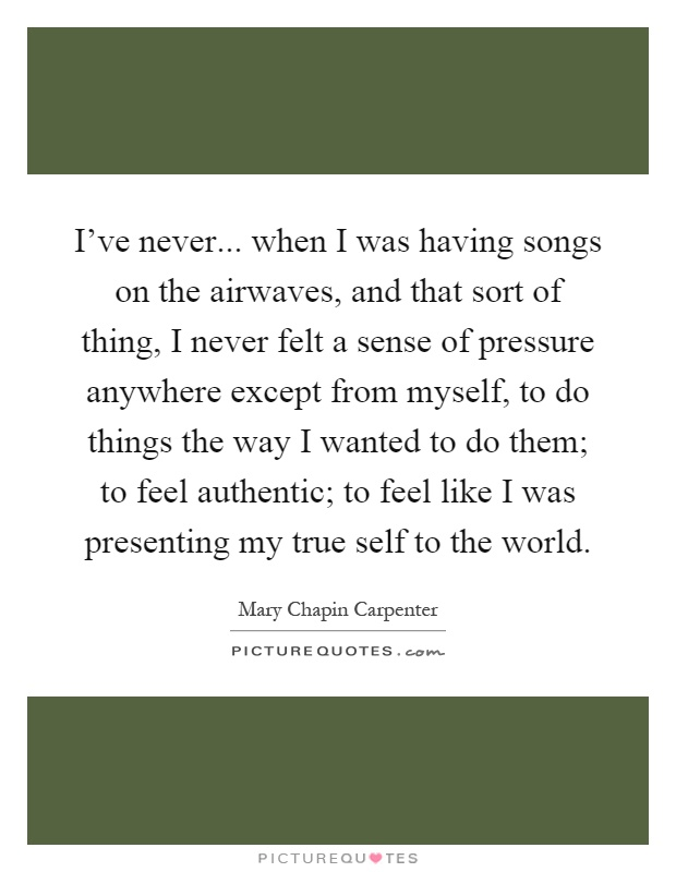 I've never... when I was having songs on the airwaves, and that sort of thing, I never felt a sense of pressure anywhere except from myself, to do things the way I wanted to do them; to feel authentic; to feel like I was presenting my true self to the world Picture Quote #1