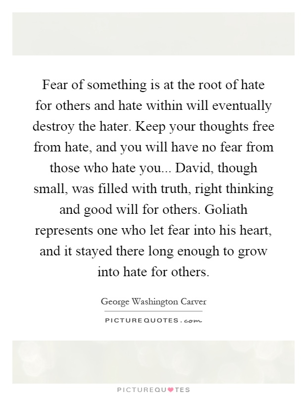 Fear of something is at the root of hate for others and hate within will eventually destroy the hater. Keep your thoughts free from hate, and you will have no fear from those who hate you... David, though small, was filled with truth, right thinking and good will for others. Goliath represents one who let fear into his heart, and it stayed there long enough to grow into hate for others Picture Quote #1