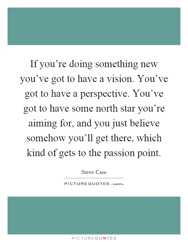If you're doing something new you've got to have a vision. You've got to have a perspective. You've got to have some north star you're aiming for, and you just believe somehow you'll get there, which kind of gets to the passion point Picture Quote #1