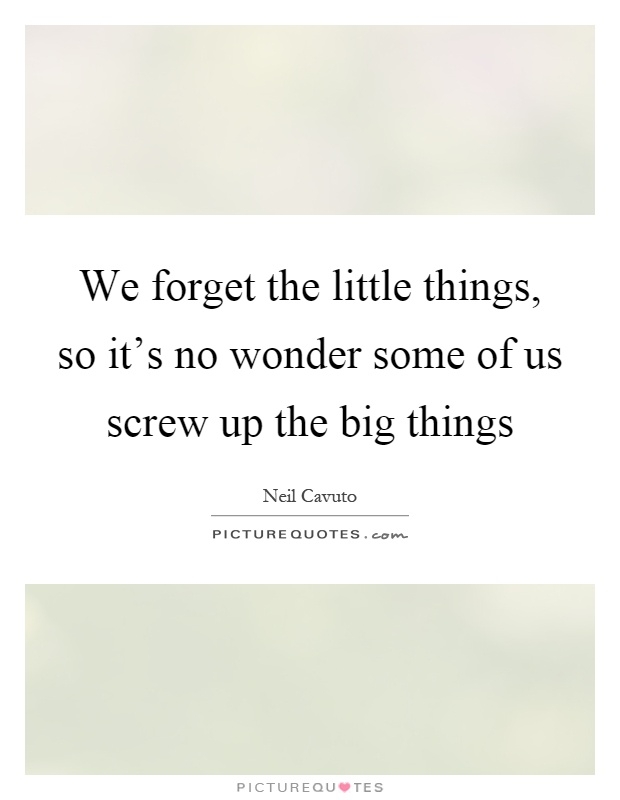 We forget the little things, so it's no wonder some of us screw up the big things Picture Quote #1