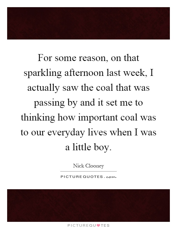 For some reason, on that sparkling afternoon last week, I actually saw the coal that was passing by and it set me to thinking how important coal was to our everyday lives when I was a little boy Picture Quote #1