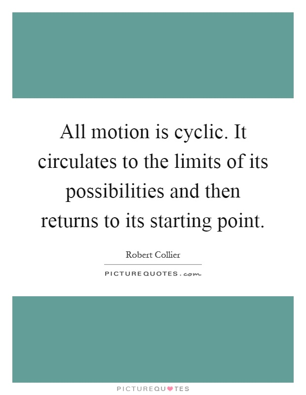 All motion is cyclic. It circulates to the limits of its possibilities and then returns to its starting point Picture Quote #1