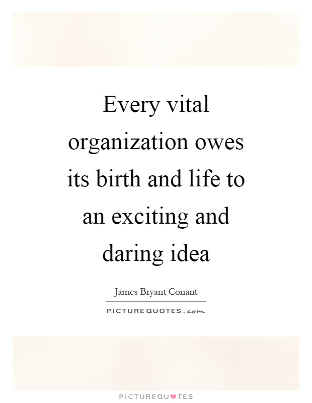 Every vital organization owes its birth and life to an exciting and daring idea Picture Quote #1