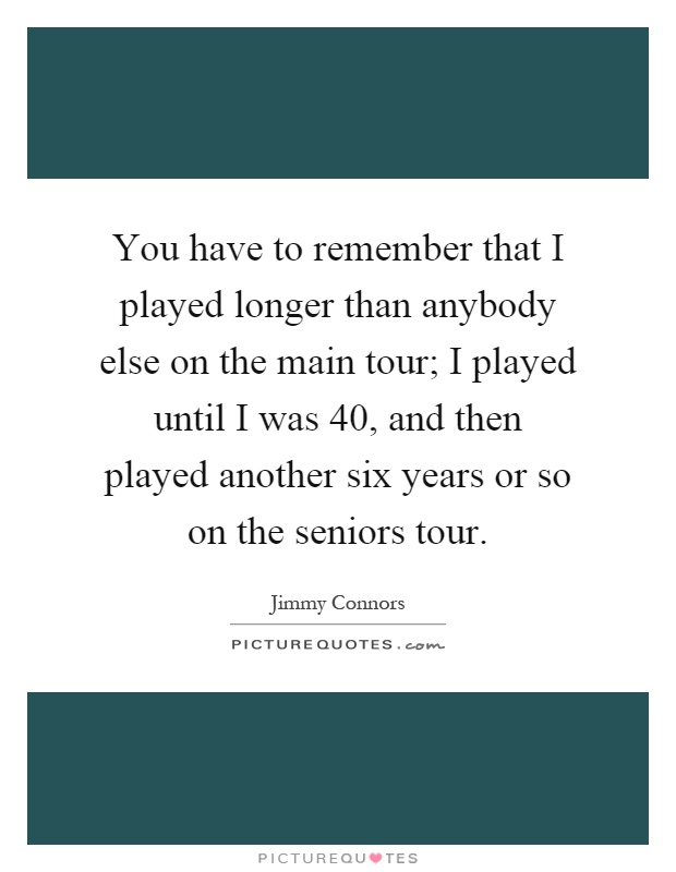 You have to remember that I played longer than anybody else on the main tour; I played until I was 40, and then played another six years or so on the seniors tour Picture Quote #1