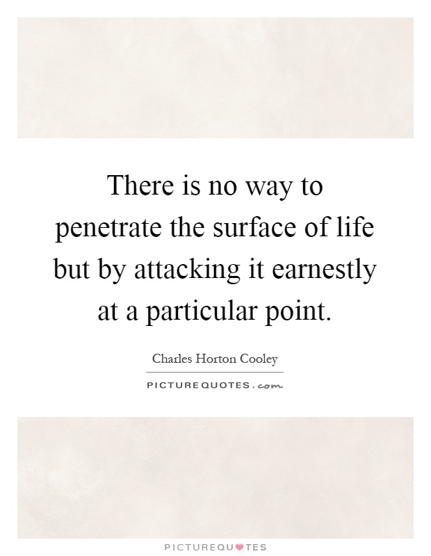 There is no way to penetrate the surface of life but by attacking it earnestly at a particular point Picture Quote #1