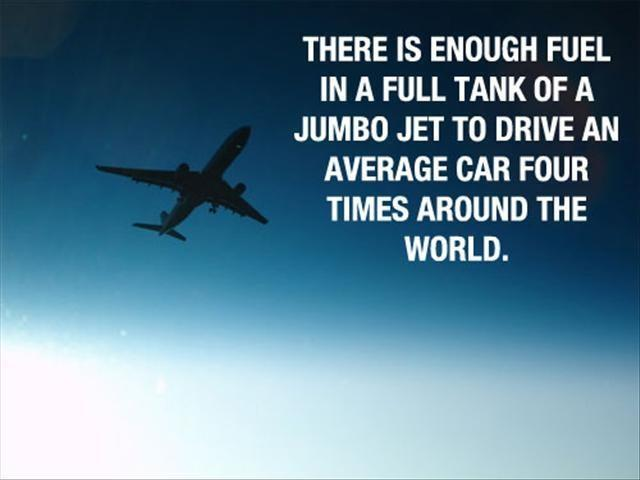 There is enough fuel in a full tank of a jumbo jet to drive an average car four times around the world Picture Quote #1