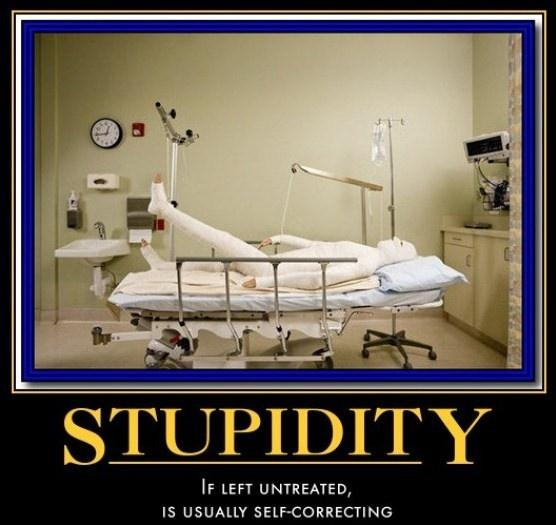 Stupidity. If left untreated, is usually self-correcting Picture Quote #1