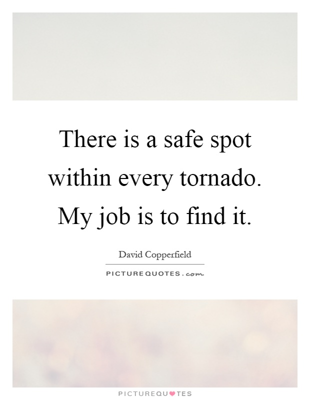 There is a safe spot within every tornado. My job is to find it Picture Quote #1