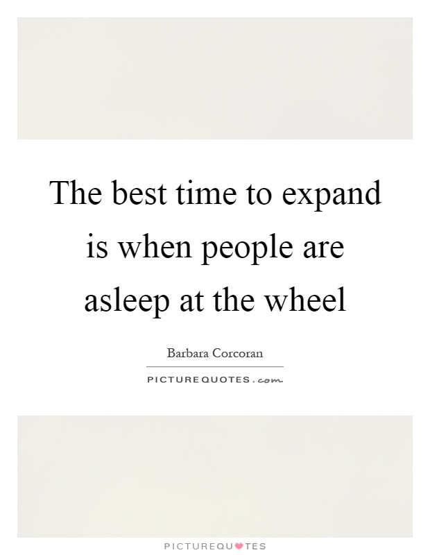 The best time to expand is when people are asleep at the wheel Picture Quote #1