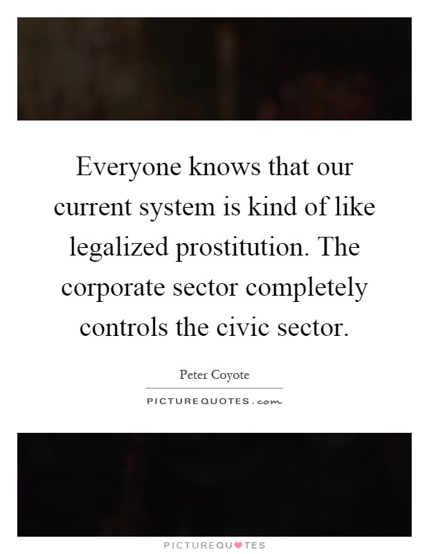 Everyone knows that our current system is kind of like legalized prostitution. The corporate sector completely controls the civic sector Picture Quote #1
