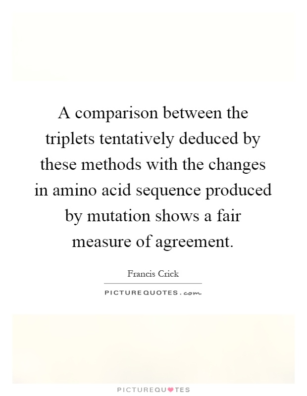 A comparison between the triplets tentatively deduced by these methods with the changes in amino acid sequence produced by mutation shows a fair measure of agreement Picture Quote #1