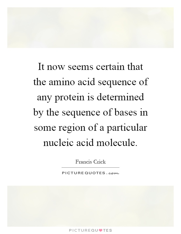 It now seems certain that the amino acid sequence of any protein is determined by the sequence of bases in some region of a particular nucleic acid molecule Picture Quote #1