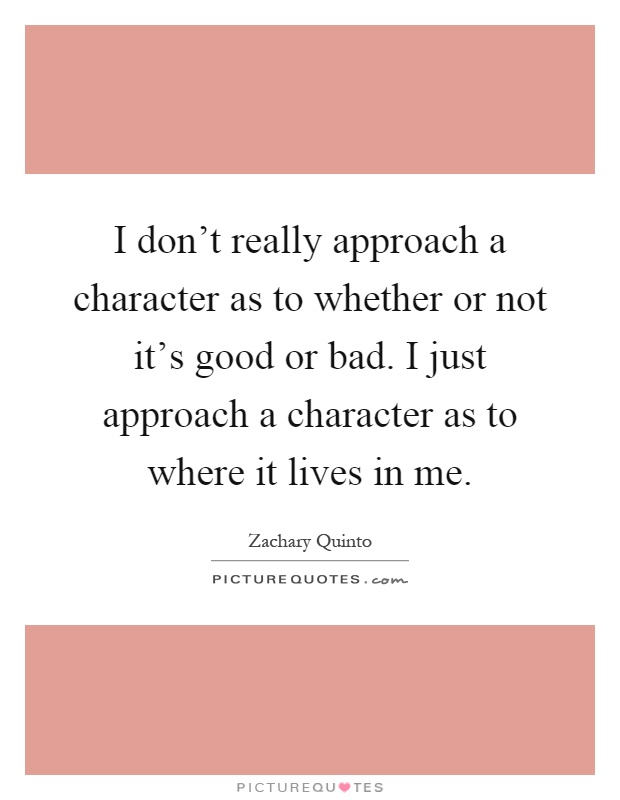 I don't really approach a character as to whether or not it's good or bad. I just approach a character as to where it lives in me Picture Quote #1