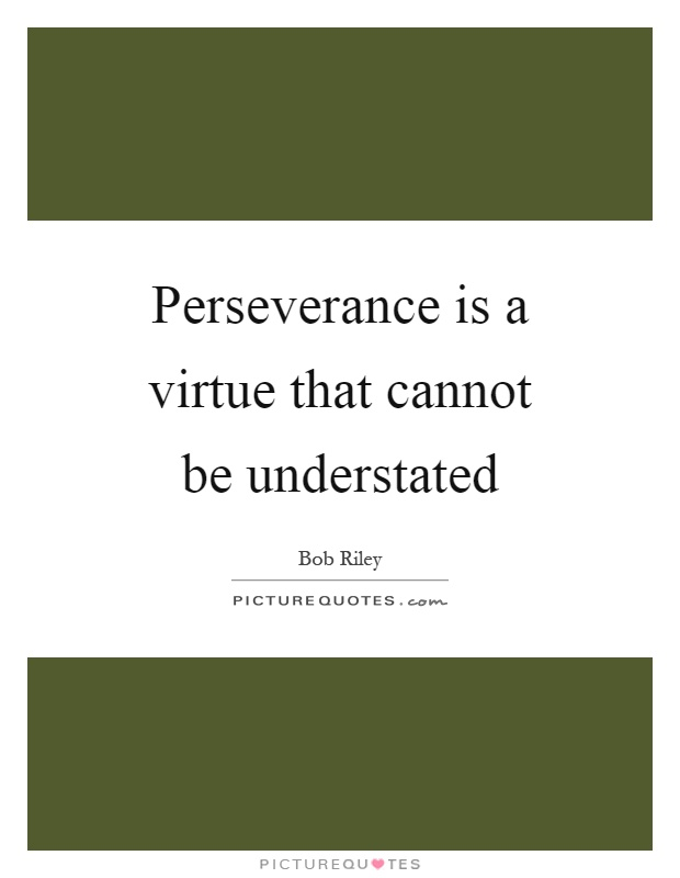 Perseverance is a virtue that cannot be understated Picture Quote #1