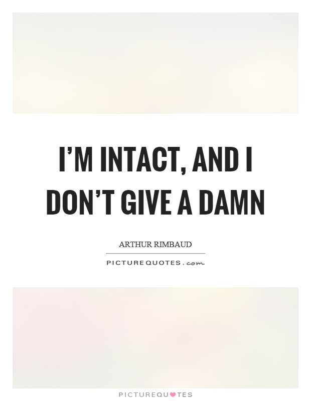 I'm intact, and I don't give a damn | Picture Quotes