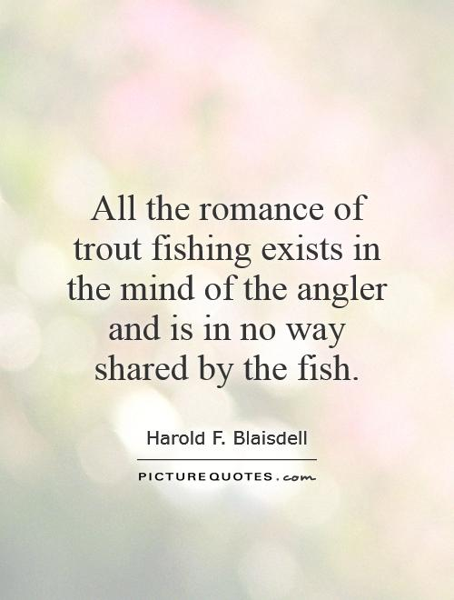 All the romance of trout fishing exists in the mind of the angler and is in no way shared by the fish Picture Quote #1