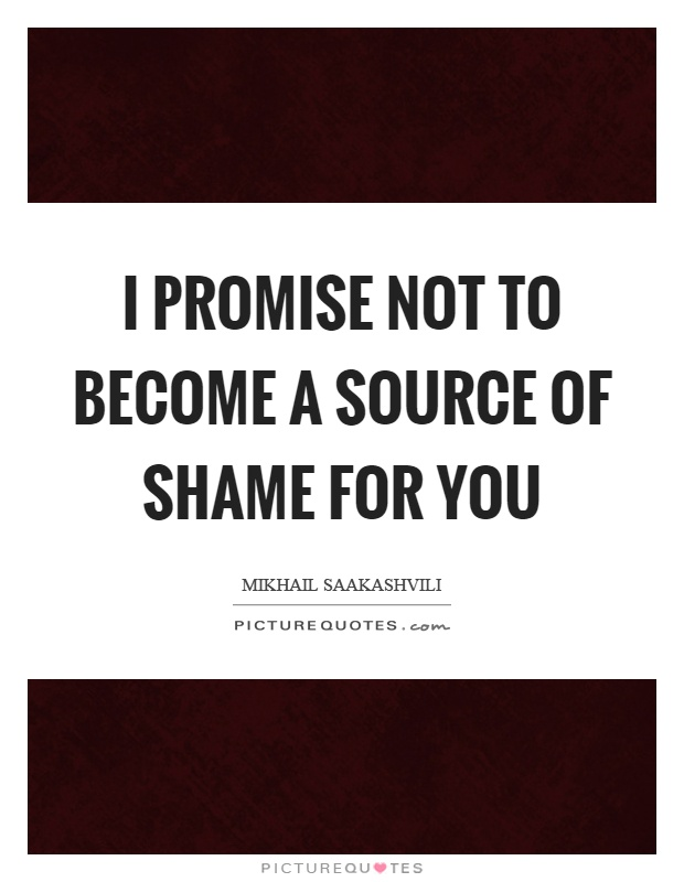I promise not to become a source of shame for you Picture Quote #1