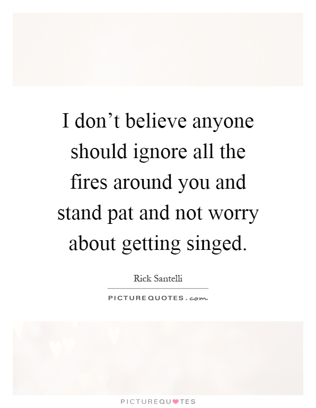 I don't believe anyone should ignore all the fires around you and stand pat and not worry about getting singed Picture Quote #1