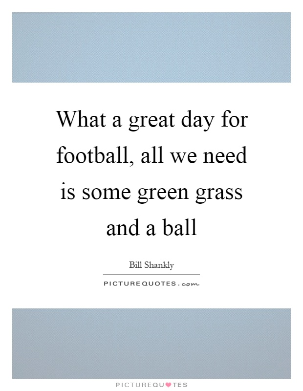 What a great day for football, all we need is some green grass and a ball Picture Quote #1