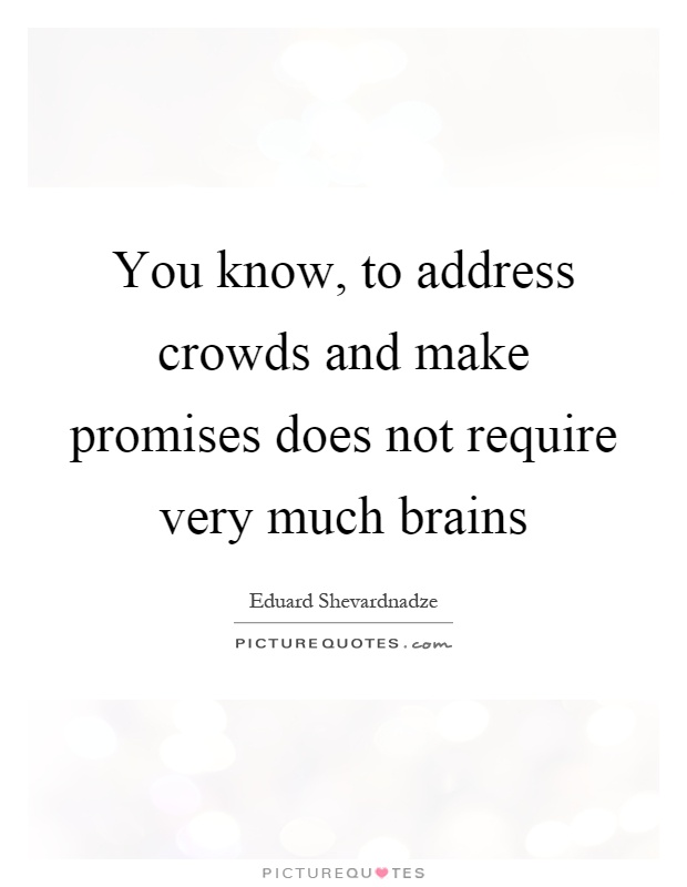 You know, to address crowds and make promises does not require very much brains Picture Quote #1