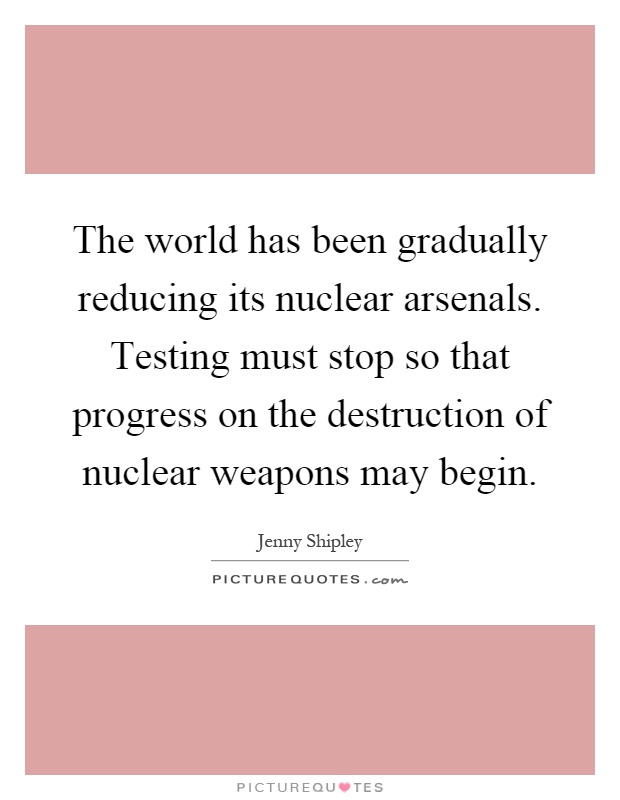 The world has been gradually reducing its nuclear arsenals. Testing must stop so that progress on the destruction of nuclear weapons may begin Picture Quote #1