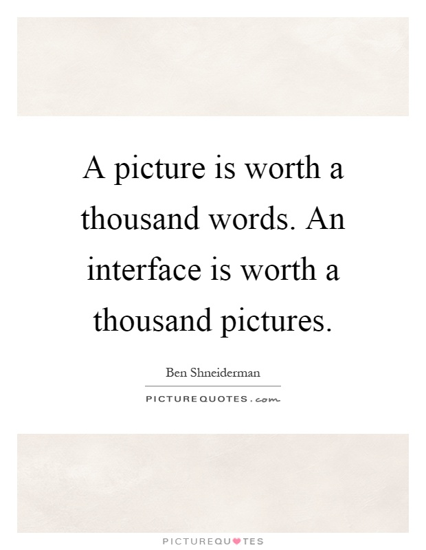 A picture is worth a thousand words. An interface is worth a thousand pictures Picture Quote #1