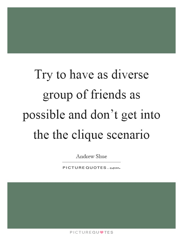 Try to have as diverse group of friends as possible and don't get into the the clique scenario Picture Quote #1