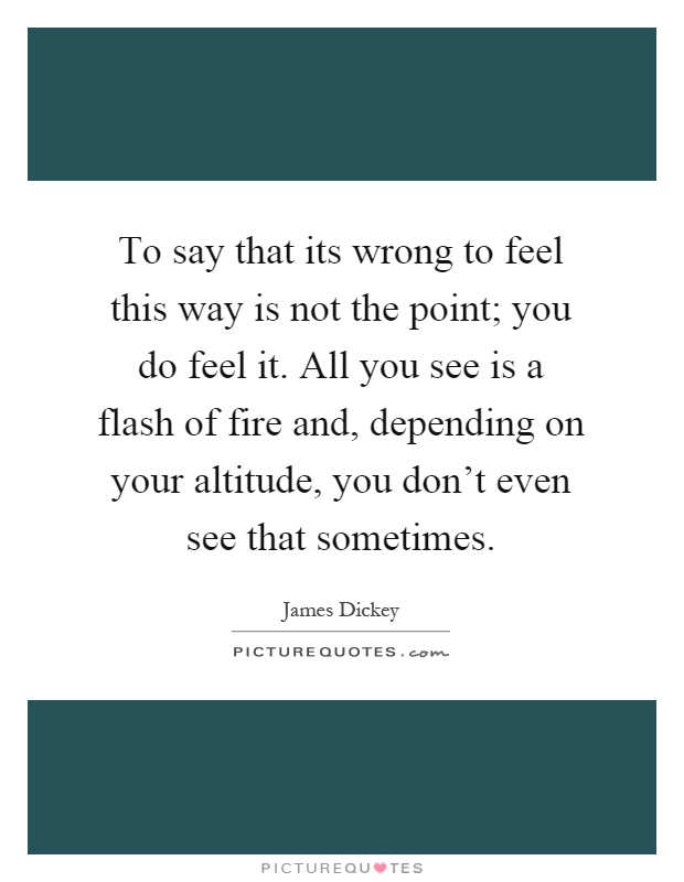 To say that its wrong to feel this way is not the point; you do feel it. All you see is a flash of fire and, depending on your altitude, you don't even see that sometimes Picture Quote #1