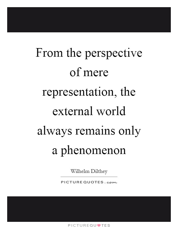 From the perspective of mere representation, the external world always remains only a phenomenon Picture Quote #1
