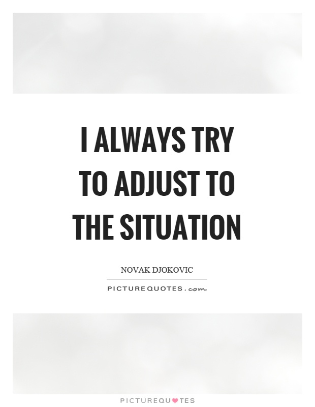 I always try to adjust to the situation Picture Quote #1