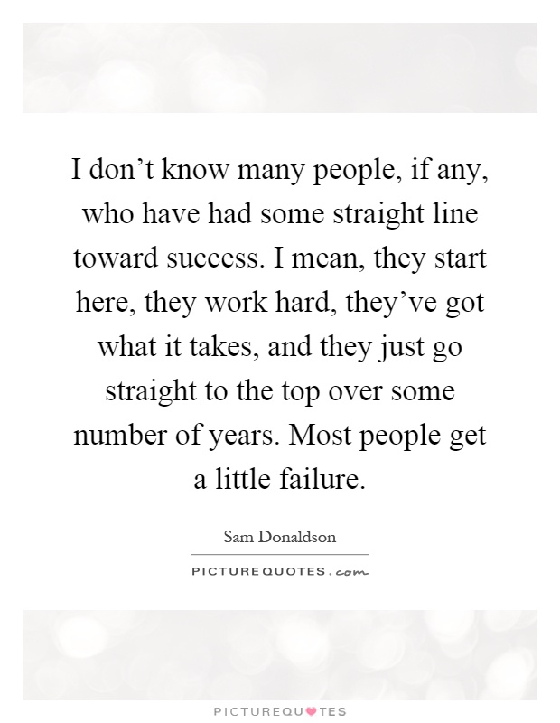 I don't know many people, if any, who have had some straight line toward success. I mean, they start here, they work hard, they've got what it takes, and they just go straight to the top over some number of years. Most people get a little failure Picture Quote #1