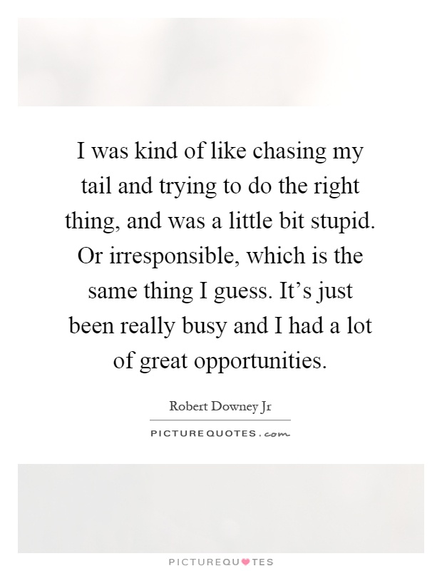 I was kind of like chasing my tail and trying to do the right thing, and was a little bit stupid. Or irresponsible, which is the same thing I guess. It's just been really busy and I had a lot of great opportunities Picture Quote #1