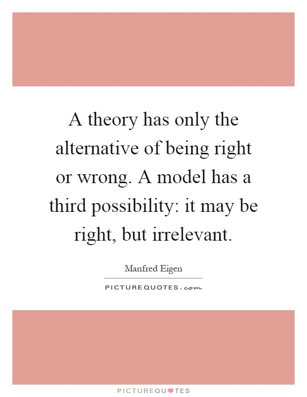 A theory has only the alternative of being right or wrong. A model has a third possibility: it may be right, but irrelevant Picture Quote #1