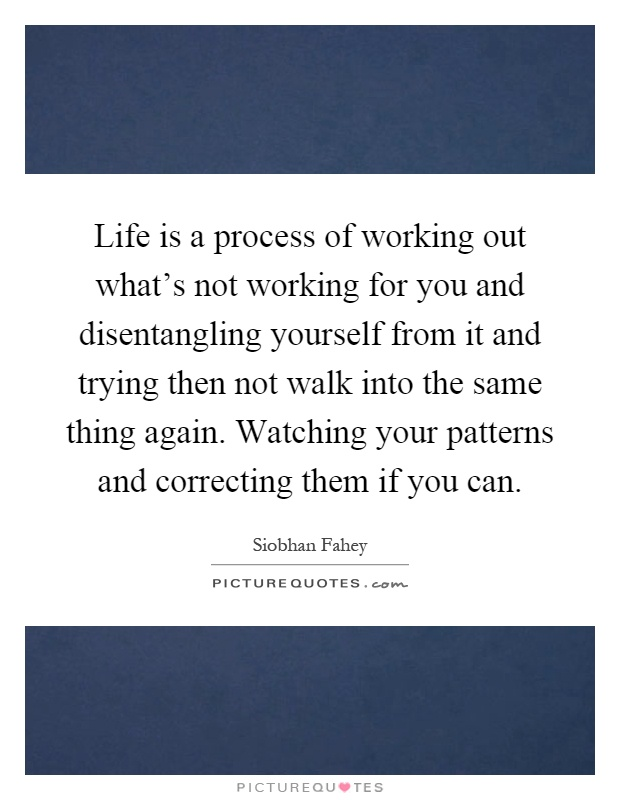 Life is a process of working out what's not working for you and disentangling yourself from it and trying then not walk into the same thing again. Watching your patterns and correcting them if you can Picture Quote #1