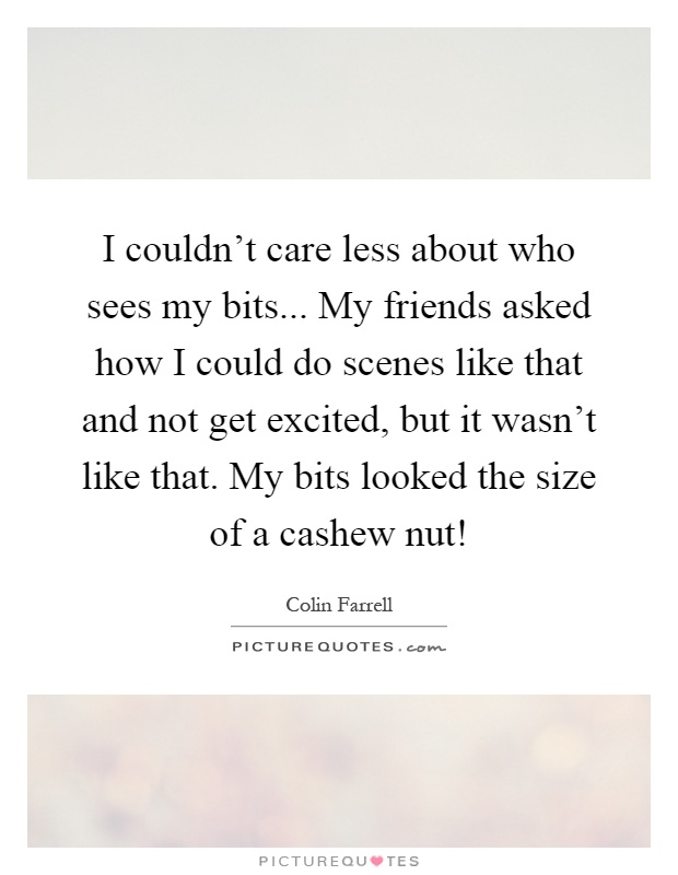 I couldn't care less about who sees my bits... My friends asked how I could do scenes like that and not get excited, but it wasn't like that. My bits looked the size of a cashew nut! Picture Quote #1