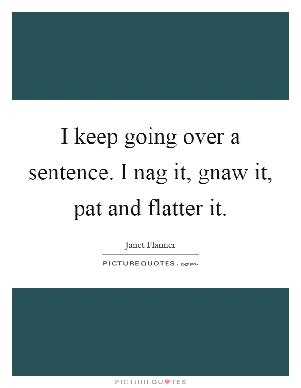 I keep going over a sentence. I nag it, gnaw it, pat and flatter it Picture Quote #1