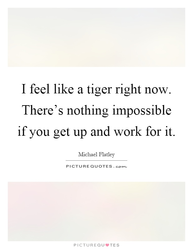 I feel like a tiger right now. There's nothing impossible if you get up and work for it Picture Quote #1