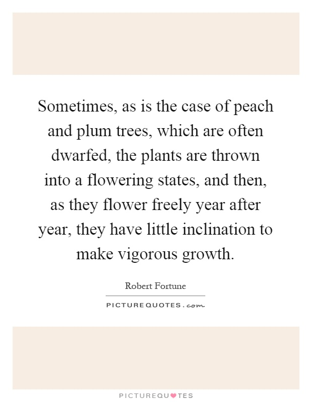 Sometimes, as is the case of peach and plum trees, which are often dwarfed, the plants are thrown into a flowering states, and then, as they flower freely year after year, they have little inclination to make vigorous growth Picture Quote #1