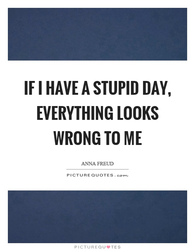 If I have a stupid day, everything looks wrong to me Picture Quote #1