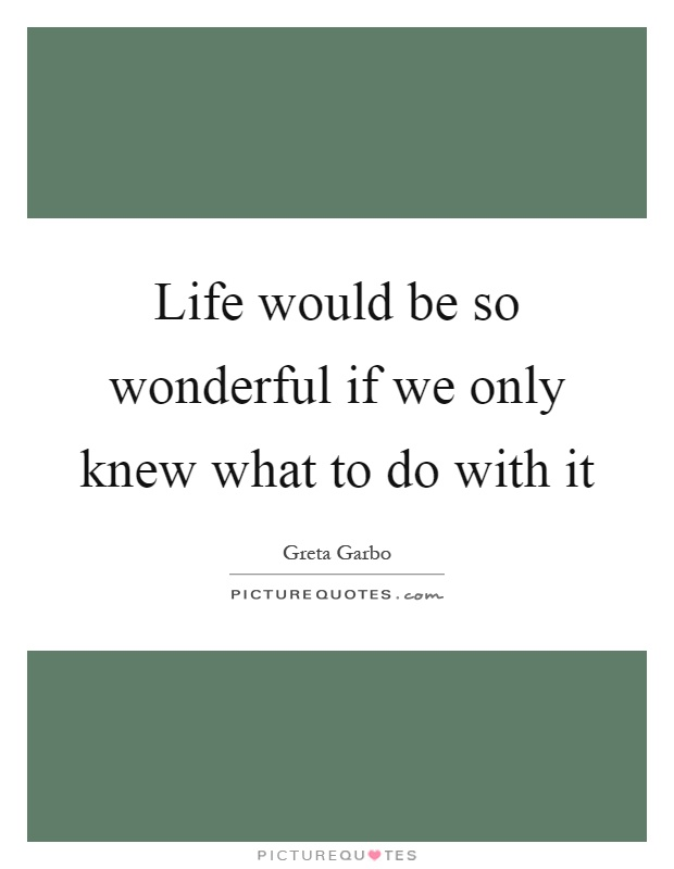 Life would be so wonderful if we only knew what to do with it Picture Quote #1