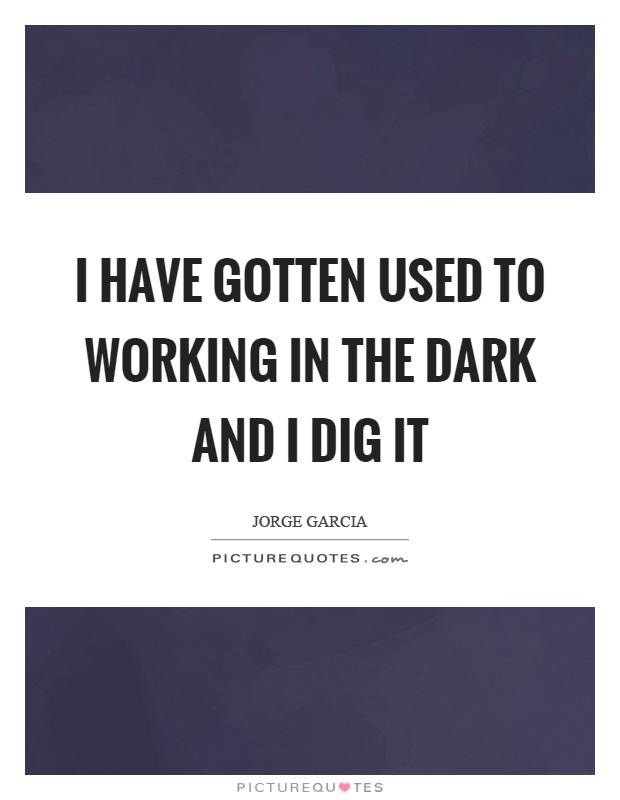 I have gotten used to working in the dark and I dig it Picture Quote #1