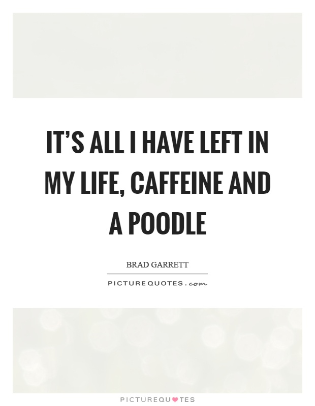 It's all I have left in my life, caffeine and a poodle Picture Quote #1