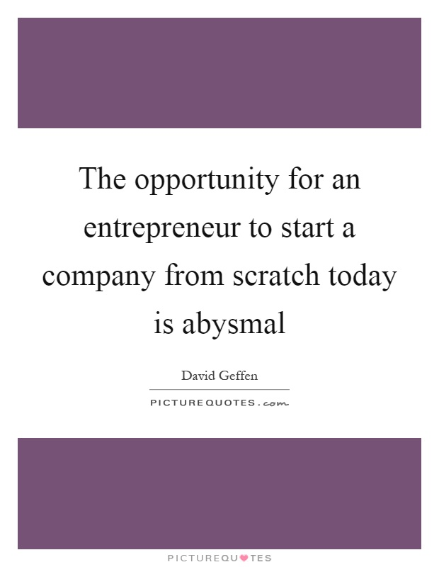 The opportunity for an entrepreneur to start a company from scratch today is abysmal Picture Quote #1