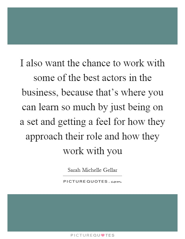 I also want the chance to work with some of the best actors in the business, because that's where you can learn so much by just being on a set and getting a feel for how they approach their role and how they work with you Picture Quote #1