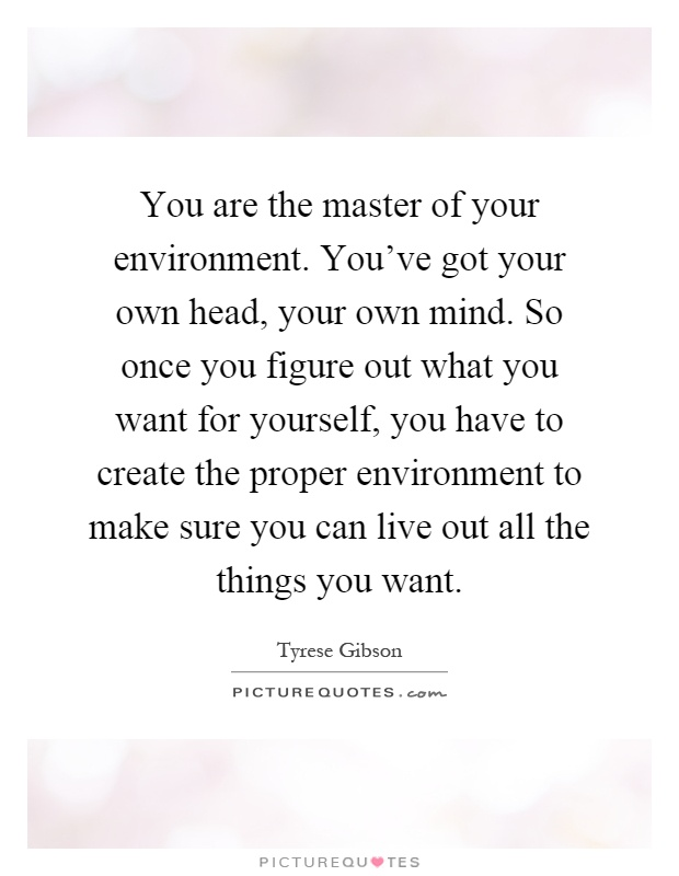 You are the master of your environment. You've got your own head, your own mind. So once you figure out what you want for yourself, you have to create the proper environment to make sure you can live out all the things you want Picture Quote #1