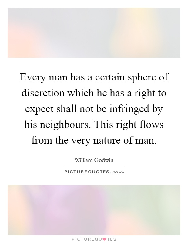 Every man has a certain sphere of discretion which he has a right to expect shall not be infringed by his neighbours. This right flows from the very nature of man Picture Quote #1