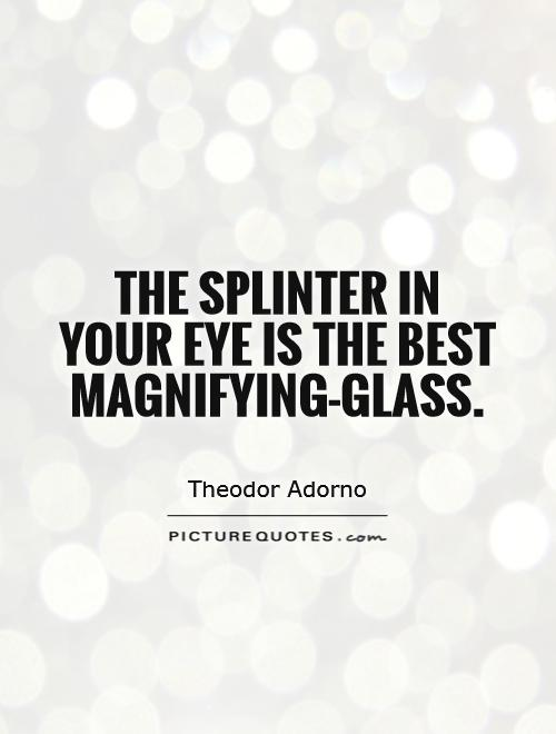 The splinter in your eye is the best magnifying-glass Picture Quote #1